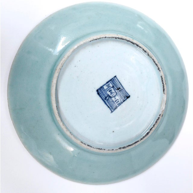 Ceramic 19th Chinese Export Rose Canton Celadon Porcelain Plates - Set of 3 For Sale - Image 7 of 12