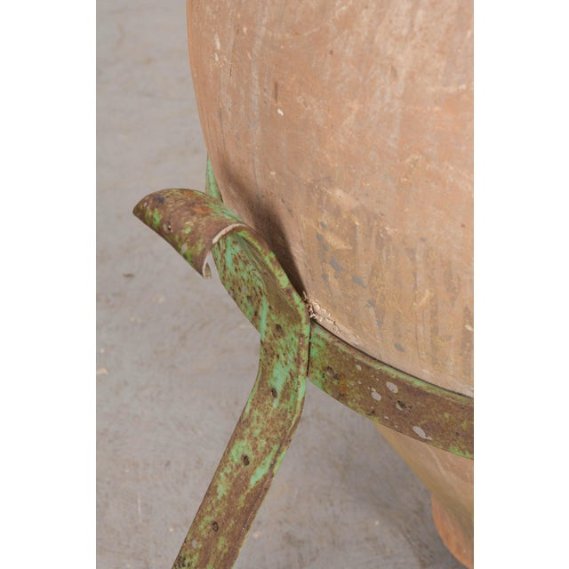 French 19th Century Terracotta Olive Jar on Painted Wrought-Iron Stand For Sale - Image 11 of 13