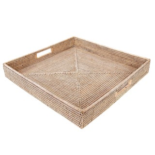 "Artifacts Rattan Square Tray 24""x24""x3"" For Sale"