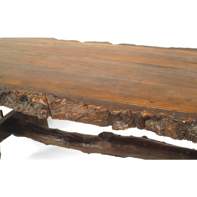 Rustic Rustic American Adirondack Style, Walnut Top Dining Table For Sale - Image 3 of 7