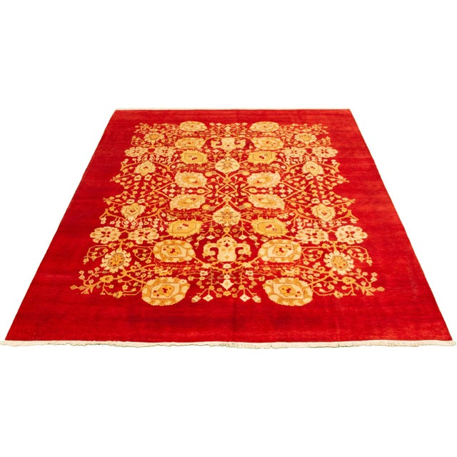 Transitional Hand-Knotted Red Rug For Sale - Image 3 of 9