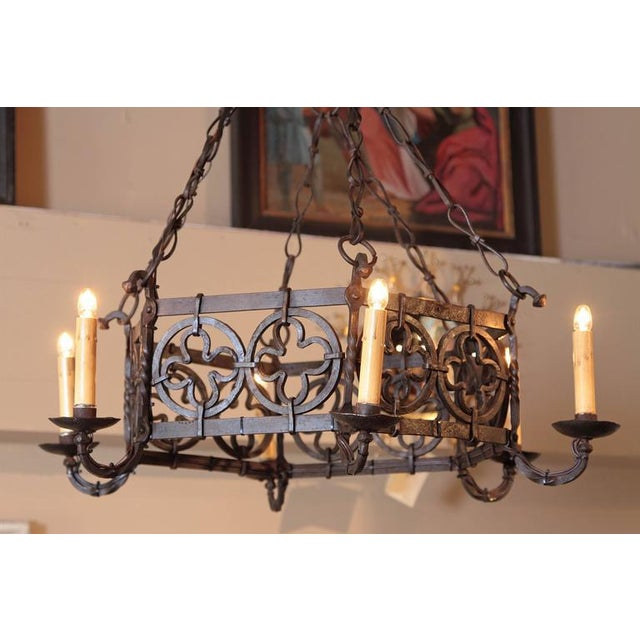Gothic 19th Century French Gothic Hexagonal Black Wrought Iron Six-Light Chandelier For Sale - Image 3 of 10