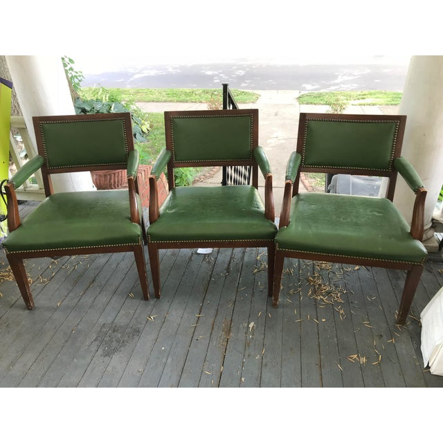 1960's Mid-Century Modern Paoli Green Leather Studded Chairs - Set of 3 For Sale - Image 12 of 12