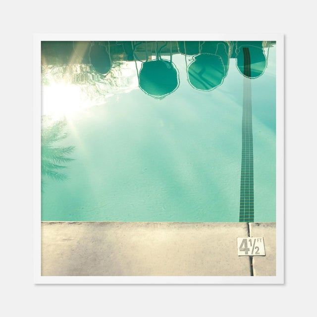 Contemporary Pool Reflections by Christine Flynn in White Framed Paper, Small Art Print For Sale - Image 3 of 3