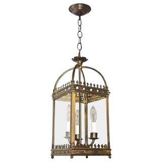 English Gothic Revival Style Brass Hall Lantern / Pendant