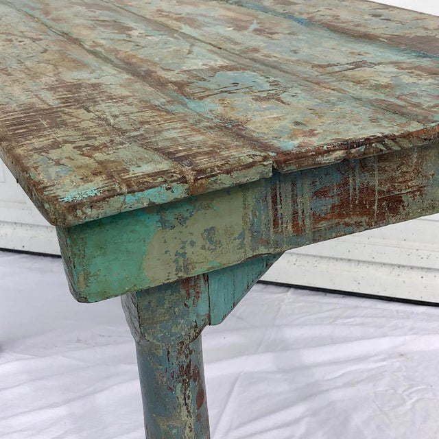 Wood Blue Indian Wedding Table For Sale - Image 7 of 8