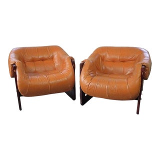 Vintage Mid Century Percival Lafer Brazilian Modern Rosewood and Leather Lounge Chairs- A Pair For Sale