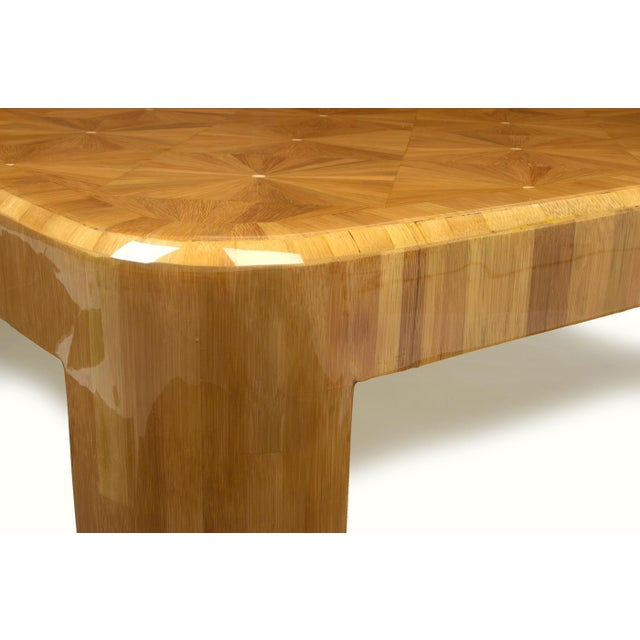 Wood Ron Seff Starburst Bamboo Marquetry Cocktail Table ca. 1980 For Sale - Image 7 of 10