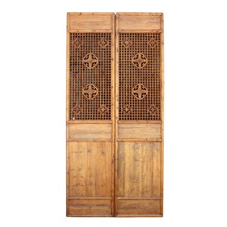 Carved Lattice Floor Screens Set of 2 For Sale