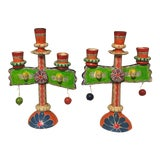 Image of Vintage Mexican Pottery Folk Art Candle Holders Trees of Life - a Pair For Sale