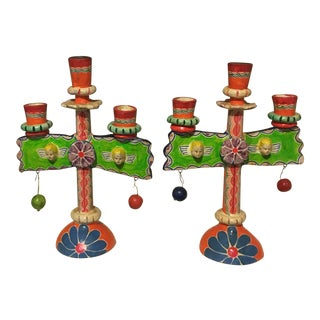 Vintage Mexican Pottery Folk Art Candle Holders Trees of Life - a Pair For Sale