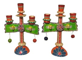 Image of Folk Art Candle Holders