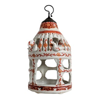 Hand Painted Chinese Porcelain Bird Cage For Sale