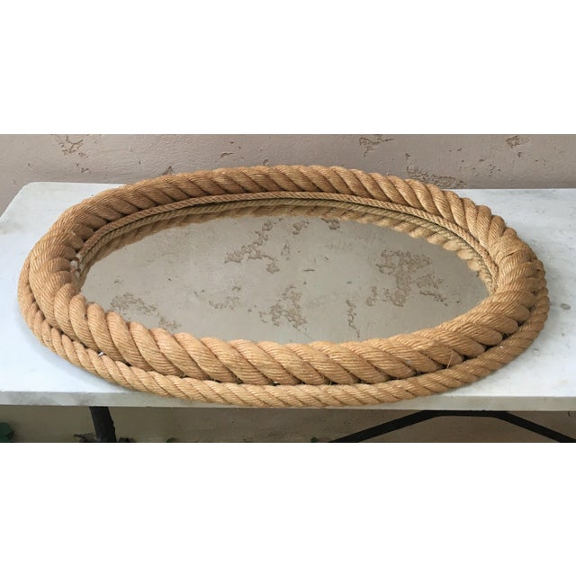 Nautical 1960s Vintage Audoux Minet Oval Rope Mirror For Sale - Image 3 of 4