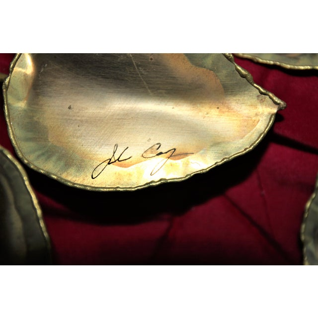 Brass Mid-Century Modern Brass Enameled Floral Signed Wall Art - a Pair For Sale - Image 7 of 9
