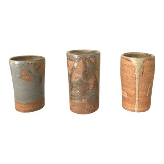 Stoneware Bud Vases or Sake Cups - Set of 3 For Sale