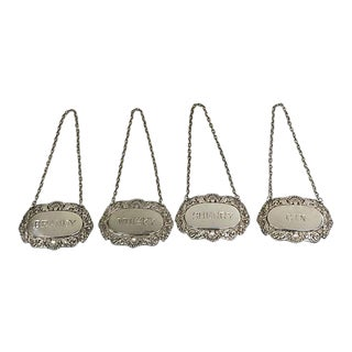 English Silver-Plate Decanter Labels - Set of 4