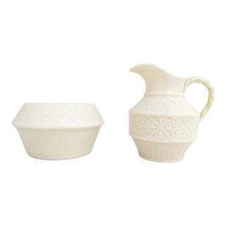 Belleek 5th Green Mark Cream & Sugar W/ Iridescent Interior - Set of 2 For Sale