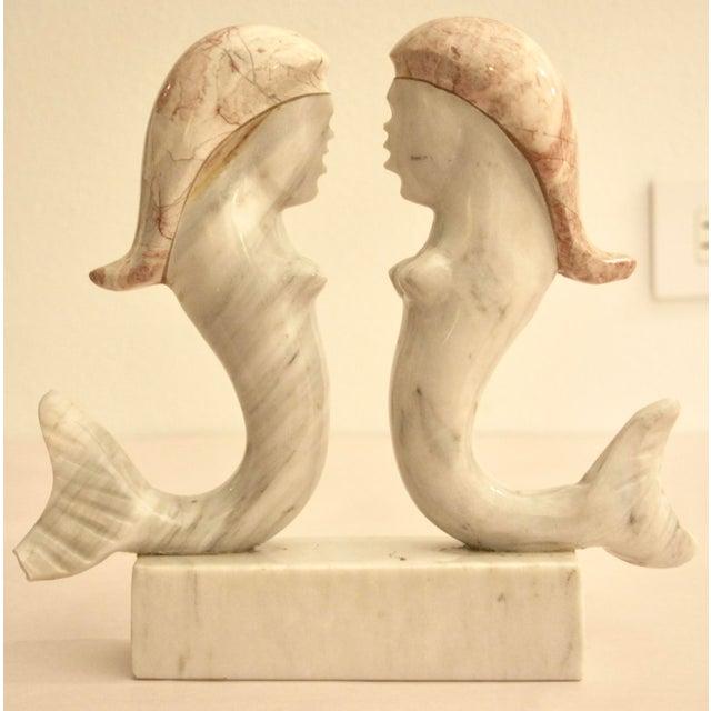 Surrealist Carved Marble Mermaid Sculpture - Image 2 of 7