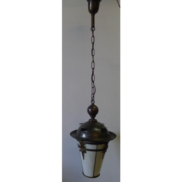 Metal Gothic Arts and Crafts Brass Pendant Light For Sale - Image 7 of 11