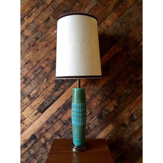 Mid Century Ceramic & Brass Lamp - Image 2 of 5