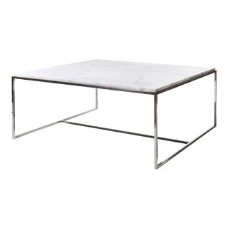 Stainless Steel & White Marble Square Coffee Table by Jacobo Ventura For Sale