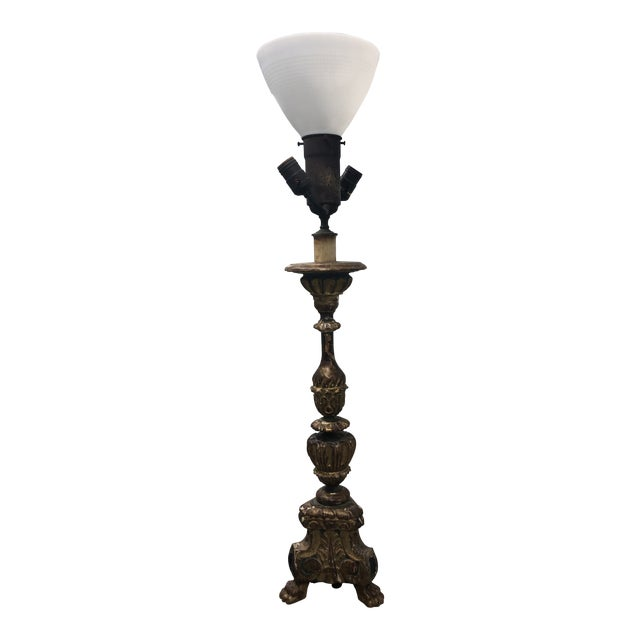 Antique 19th C. French Carved and Gilded Marble Base Table Lamp For Sale