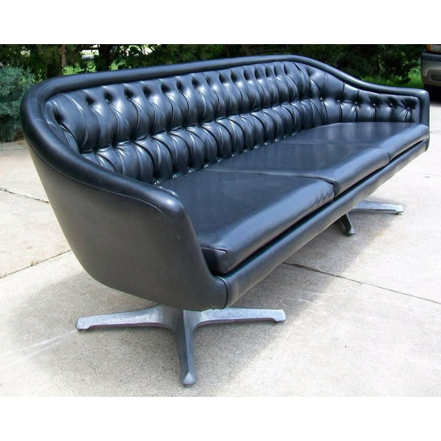 Chromcraft Chromcraft Mid Century Modern Black Tufted Couch For Sale - Image 4 of 11