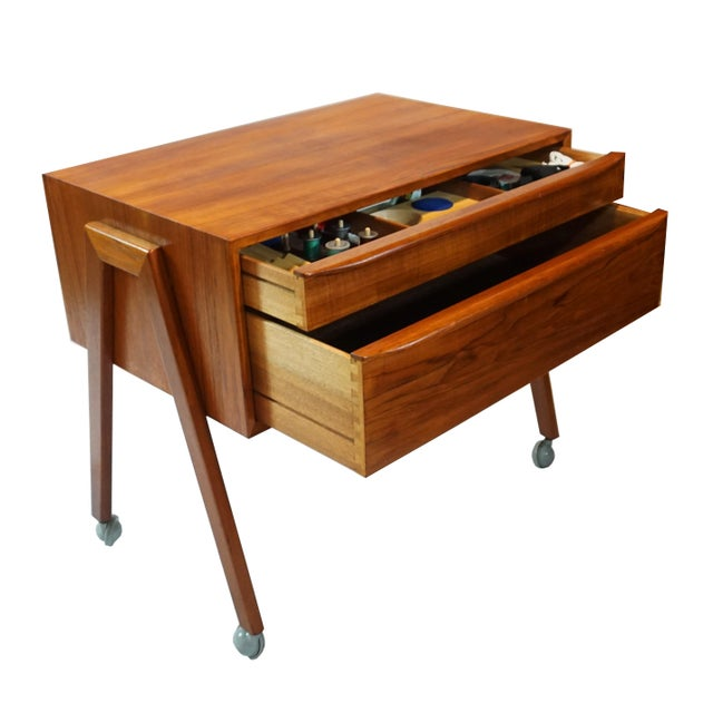 """Producer: Danish Furniture Makers Model: Sewing Table Time Period: 1960´s Dimensions: 24"""" High x 26"""" Width/Length x 16.5""""..."""