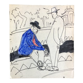 Vintage Mid-Century Two Men in a Plaza Watercolor Painting For Sale