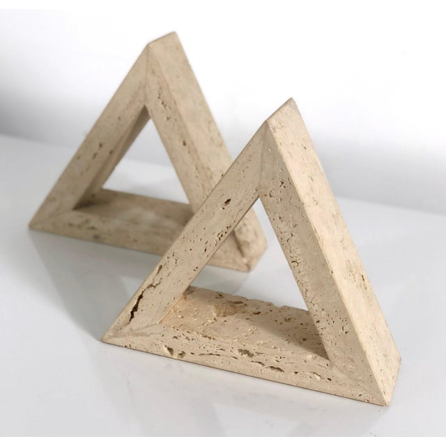 Raymor 1960s Fratelli Mannelli for Raymor Triangle Travertine Bookends - a Pair For Sale - Image 4 of 10