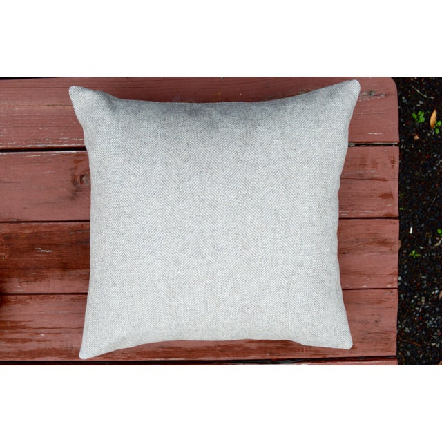 2010s Italian FirmaMenta Eco-Friendly Neutral Herringbone Recycled Wool Pillow For Sale - Image 5 of 7