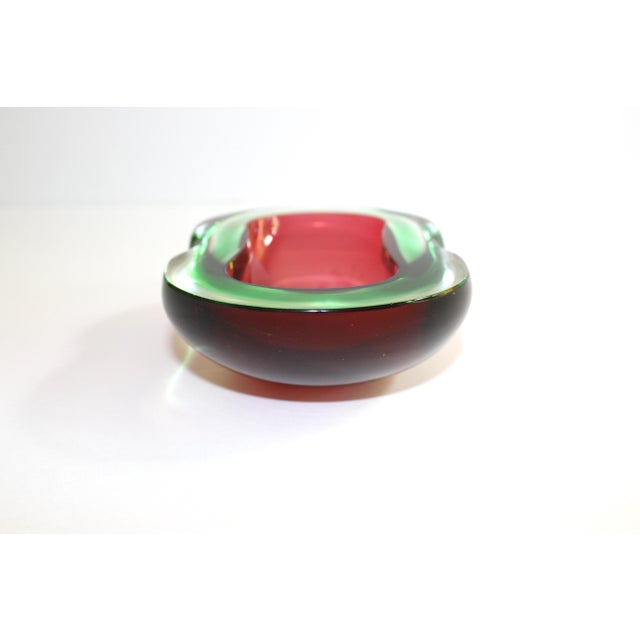 Red Murano Glass Red and Green Sommerso Ashtray & Bowl, 1960's For Sale - Image 8 of 13