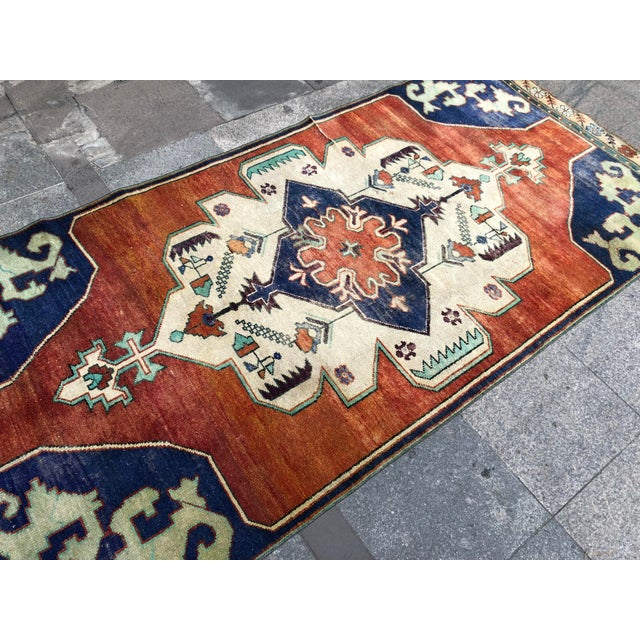 1960s Vintage Turkish Oushak Floral Rug - 3′10″ × 8′3″ For Sale - Image 9 of 11