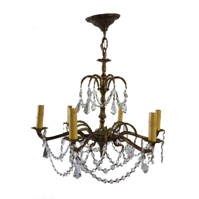 Ornate French Brass Chandelier With Crystal Beads - Image 1 of 7