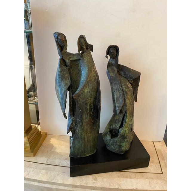 1970s Brutalist Bronze Sculpture of Nuns For Sale - Image 5 of 11