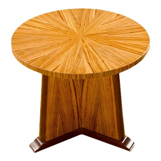 Contemporary Round Zebra Wood Side Table For Sale