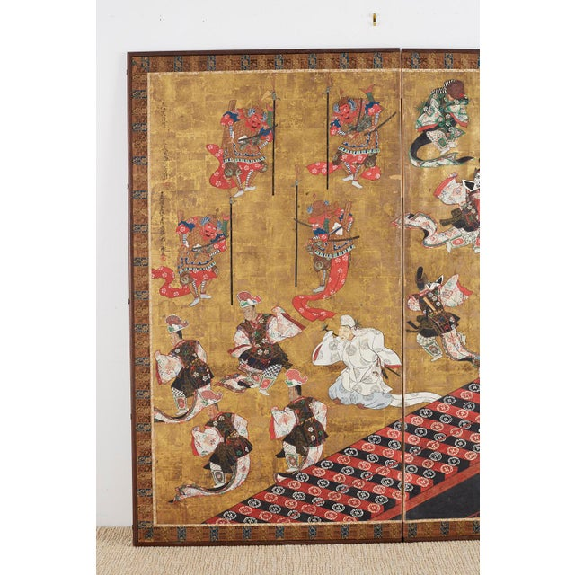 Red Japanese Edo Bugaku Imperial Court Dance Two-Panel Screen For Sale - Image 8 of 13