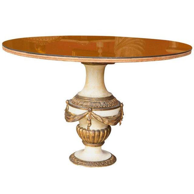 Antique Urn Form Base Verne Eglomise Center Glass Top Table For Sale - Image 13 of 13