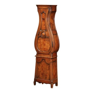 Late 18th Century French Louis XV Carved Burl Walnut Tall Case Clock For Sale
