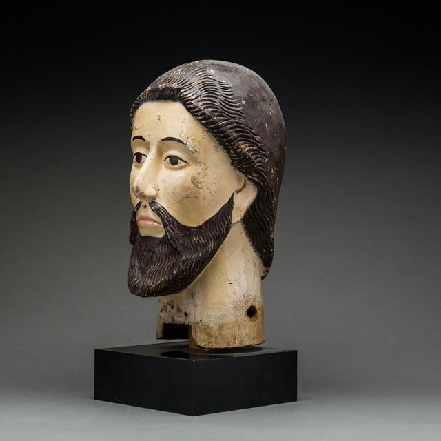 Religious Wooden Head of a Saint For Sale - Image 3 of 5