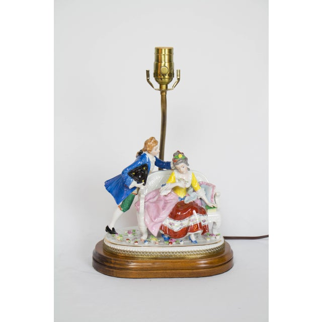 Ceramic Restored Vintage Figural Lamp With Seated Couple For Sale - Image 7 of 7