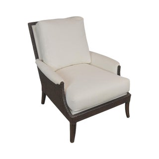 McGuire of San Francisco Woven Rattan Upholstered Umbria Lounge Chair For Sale