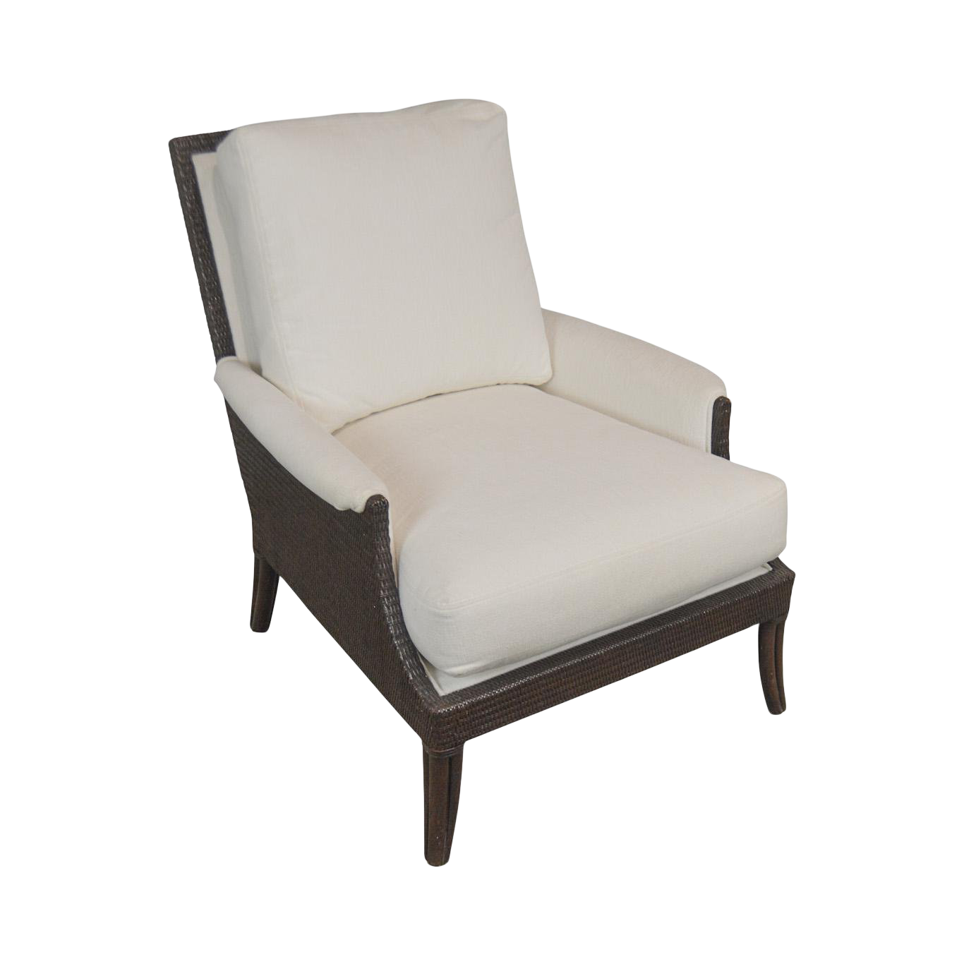 McGuire Of San Francisco Woven Rattan Upholstered Umbria Lounge Chair
