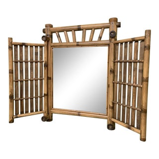 Vintage Bamboo Folding Mirror For Sale