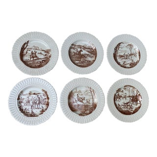 Vintage Traditional Equestrian Horse and Hunt Scene Plates - Set of 6 For Sale
