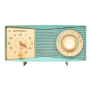 Motorola Mid Century Modern Turquoise Clock Tube Amp Radio For Sale