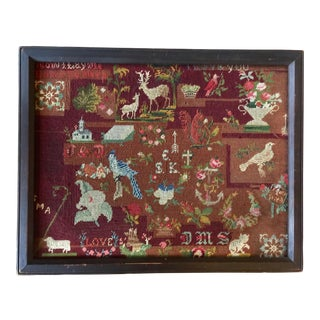 Victorian Folk Art Style Needlework Sampler Textile Art For Sale