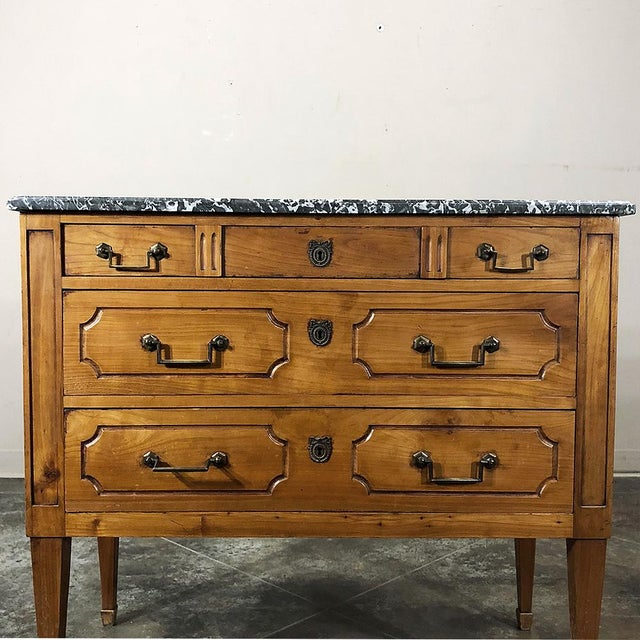 Metal 19th Century French Louis XVI ~ Directoire Style Marble Top Commode For Sale - Image 7 of 13