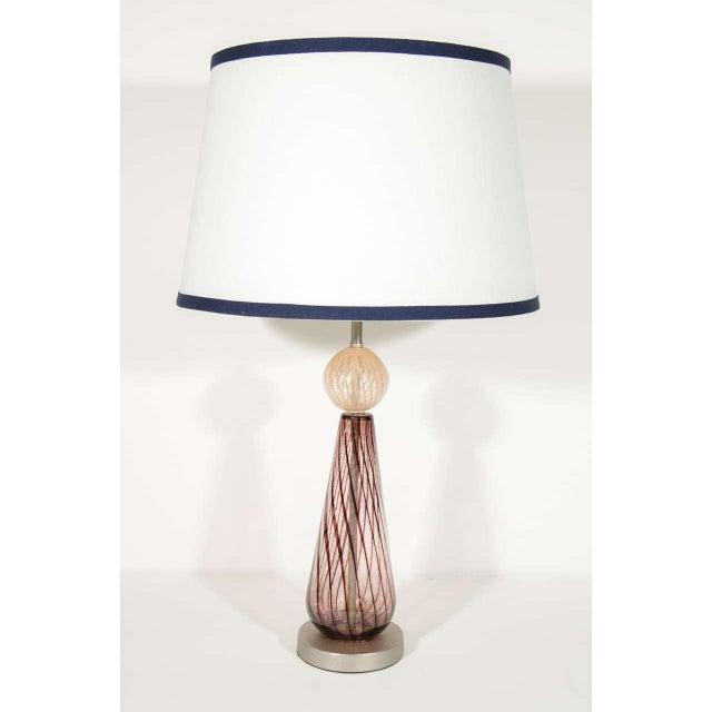 Mid Century Modern Murano Glass Lamp With Spiral Color Details For Sale - Image 4 of 6